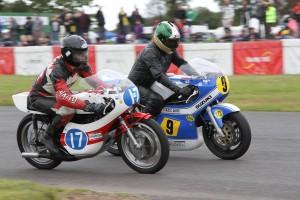 Class B winner Peter Kent on his 500 Suzuki and Ian Munro aboard his Yamaha TZ350