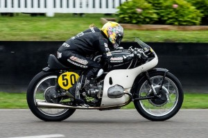 Maria Costello MBE on the 1956 BMW RS500