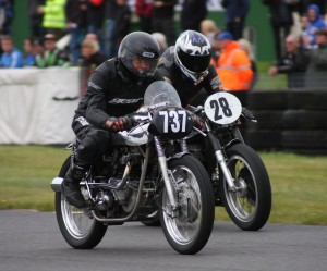 75 years young Davy Wilkinson was second in class B. Here in action with #28 Tony Head and his BSA