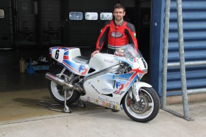 William Dunlop with the 1992 Crighton Rotary Norton racer