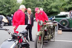 The Mayor of Dudley inspecting vintage motorcycles