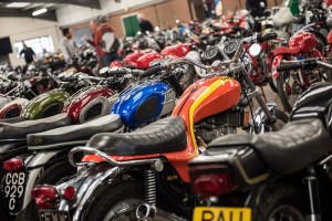 Pristine machines lined up in the Bonhams auction hall.