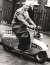lawrie bond on his sherpa scooter