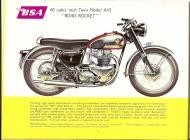 1956 BSA A10 Road Rocket sales brichure