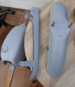 Tanks, chain guard and front mudguard all prepped and primed