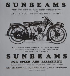 Sunbeam advertising from 1927