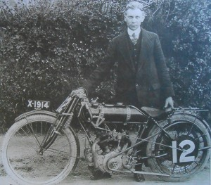 TT winner Hugh Mason alongside his race winning NUT after victory in 1913