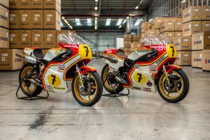 Barry Sheene's 1976 and 1977 world championship-winning Suzuki race bikes