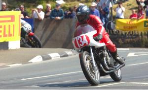 Robert White riding his Gilera 500cc Grand Prix Racing Motorcycle