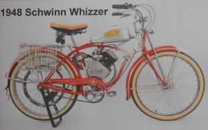 Schwinn cycle from 1948 with Whizzer motor and belt drive
