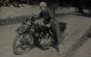 Cliff's mother with the Indian Scout she co-rode with his father from 1918 until the mid-forties