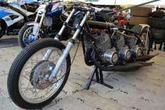 The paddock contained a terrifying Yamaha Triple drag bike from 1970, three 350cc TR2 GP engines built in Texas by Pat Miller