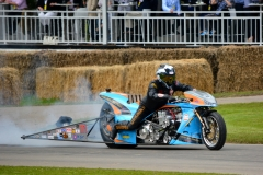 Ian King on his 2015 Puma Gulf drag bike capable of 235 mph in 5.8 seconds