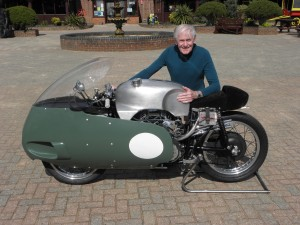Sammy Miller with his 1957 Moto Guzzi V8