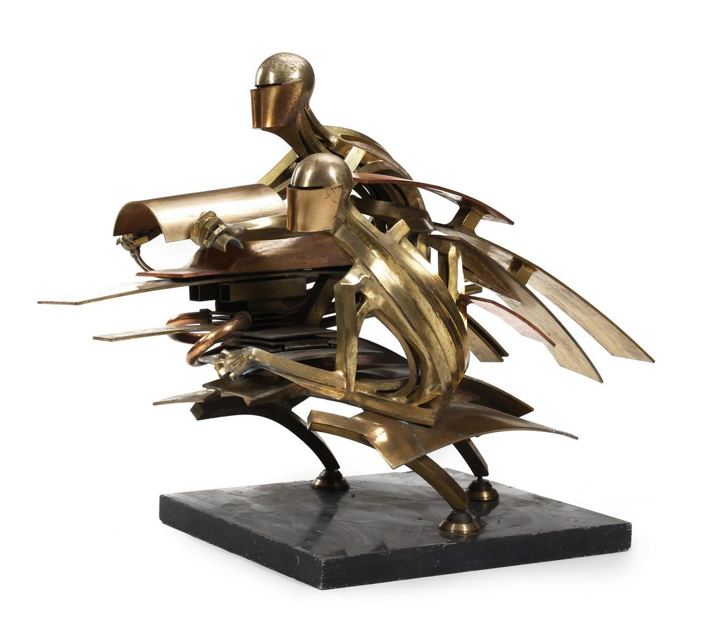 Metal Motorcycle Sculpture Features in Classic Bike Sale