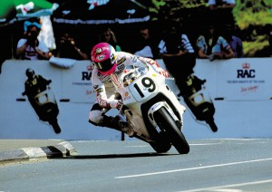 Action shot: Steve Hislop on the Norton NRS588 at the 1992 TT
