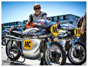 Maria Costello MBE with the Bruce Verdon McIntosh Manx Norton in New Zealand - by Jossie