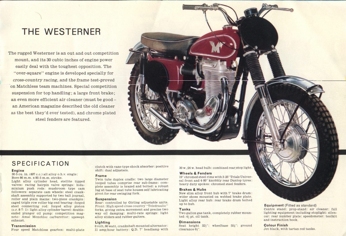 Matchless Sales Brochures Classic Motorbikes