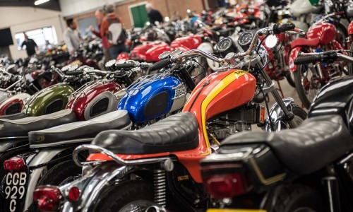 Pristine-machines-lined-up-in-the-Bonhams-auction-hall.
