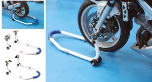 Combination motorcycle stand for front or rear wheels