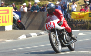 Robert White riding his Gilera 500cc Grand Prix Racing Motorcycle