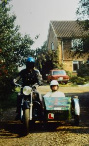 1972 Colin adventure begins with his AJS and his sister Clare in the chair