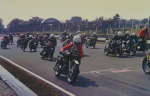 Push & bump David Dale leaves the line hauling the AJS 'it needs to start first time'