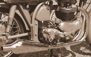 black and white Norton Dominator engine close up