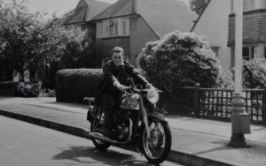 Cliff with his Norton…same bike, same owner at home in Surrey in 1960