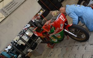 Fettling a Hailwood Ducati, it will run and Mike's son David is registered to be aboard