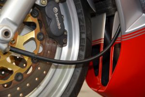 Hardly used the Brembo's operate perfectly clamping down on the 38mm front discs