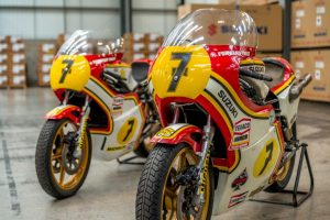both of Barry Sheene's world championship-winning RG500s, the 1976 and 1977 machines recently restored to their former glory by former Grand Prix technicians Martyn Ogborne and Nigel Everett