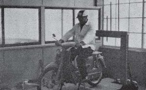 May, 1958 - Honda smiles broadly astride the Super Cub prototype. (photo from Honda in-house newsletter)