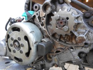 The Chaly had the wrong front sprocket fitted with too few teeth that were bent sideways, this new one is standard size