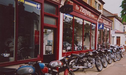 The famous facade of Reg Allen Motorcycles which Bill Crosby has owned since 1958
