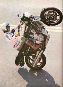 Wheelie King Doug Domokos used the big Kawasaki to go ballistic