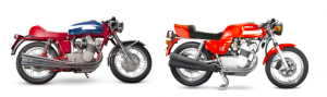 1971 MV Agusta 750S (£70,000-100,000) and 1977 MV Agusta 750S America that has covered 42 miles from new (£70,000-100,000)