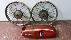Honda SS50 wheels and tank