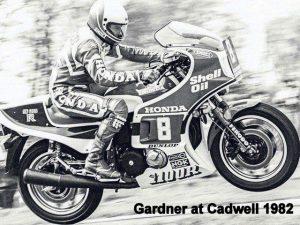 Wayne Gardner on his CB1100R at Cadwell Park 1982
