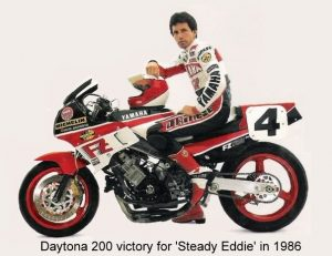 Daytona 200 victory for Eddie Spencer on a Yamaha FZ750 in 1986