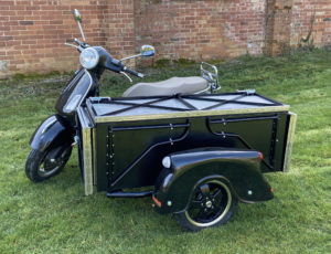 one-off Vespa table sidecar