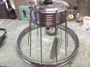With rims and spokes supplied by Mopedland the wheels were built by Neil at Walton Works