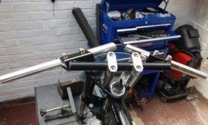 The adjustable bars from Alchemy Parts proved perfect, well made and great value at just £27.00