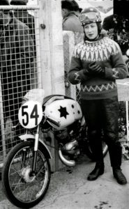Beryl Swain at the Isle of Man TT in 1962, banned the following year as authorities consider it too dangerous for a woman