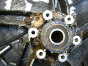 Aprilia RS125 behind the brake disc