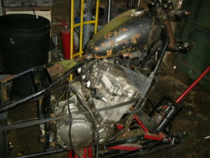 Custom chopper build engine frame mock-up