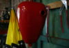 Junkyard dog sprayed petrol tank