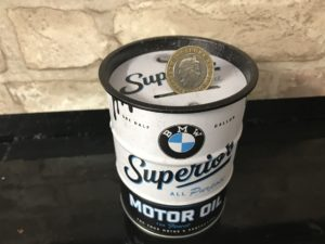 BMW oil barrel money box