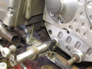 Custom motorcycle gear linkage support