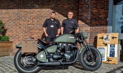 Sam Upton (left) and Tony Crocker (right) with their VE75 custom Triumph